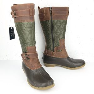 Sperry Saltwater Tall Buckle Rain Boots Olive 8.5